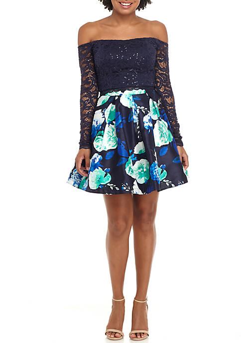 My Michelle 2-Piece Long Sleeve Lace Floral Pleated