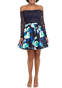 2-Piece Long Sleeve Lace Floral Pleated Top and Skirt Set