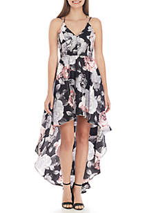 Sleeveless Strappy High Low Floral Printed Dress