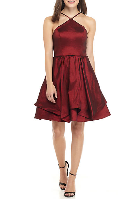 My Michelle Sleeveless Halter Satin Fit and Flare
