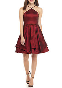 Sleeveless Halter Satin Fit and Flare Dress