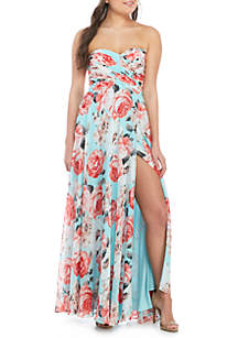 sequin hearts Strapless Floral Chiffon Gown
