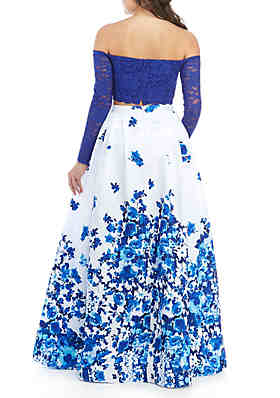 ... sequin hearts Off the Shoulder Two-Piece Gown 1225ca5bbb8b