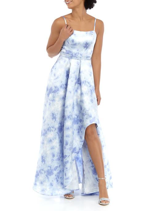 Womens Tie Dye Asymmetrical Gown