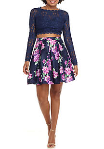 2-Piece Long Sleeve Lace Top Floral Print Skirt Dress