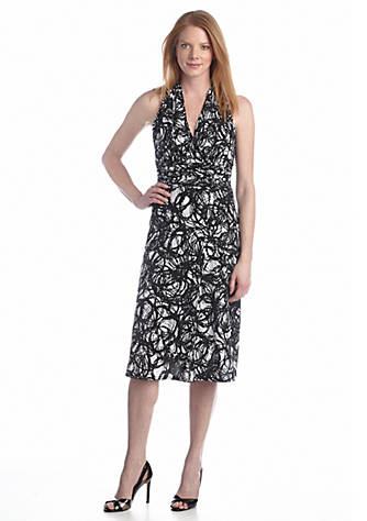 K Kasper By Evan Picone Printed Halter Dress Belk