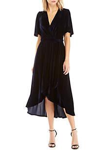 Velvet Wrap V-Neck Dress