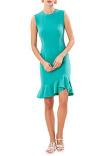 Sleeveless Crepe Dress with Asymmetric Ruffle Skirt
