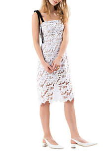 Long Sleeve Tie Strap Allover Lace Dress