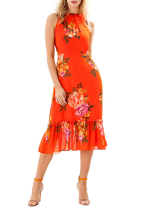 Donna Morgan Sleeveless Printed Midi with Ruffle Neck
