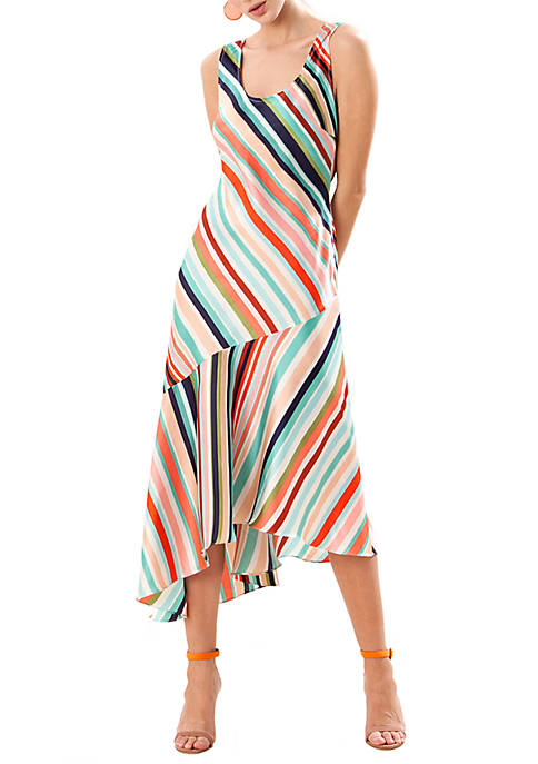 Donna Morgan Sleeveless Printed Slip Dress with Asymmetric