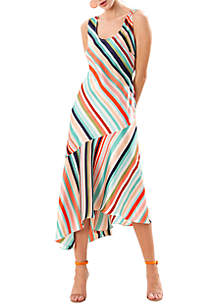 Sleeveless Printed Slip Dress with Asymmetric Hem