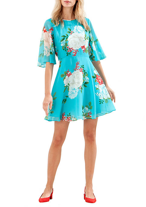 Donna Morgan Short Flutter Sleeve Printed Chiffon Fit-and-Flare