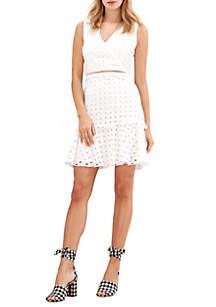 Sleeveless V-Neck Eyelet Dress
