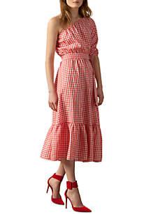 Short Sleeve Plaid Linen Midi Shirt Dress