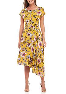 Cap Sleeve Printed Challis Dress