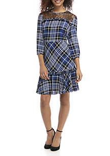 3/4 Sleeve Lace Illusion Plaid Dress