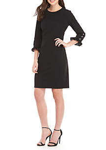 3/4 Ruffle Sleeve Crepe Fit and Flare Dress