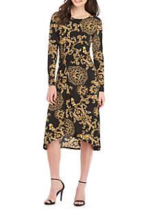 Long Sleeve Print Jersey Asymmetric Dres