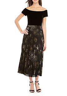 Velvet Off The Shoulder Pleated Skirt Dress