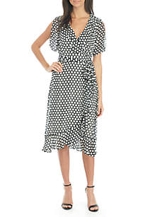 Short Sleeve Print Georgette Wrap Dress