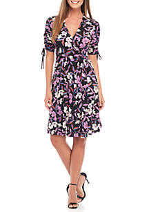 Three-Quarter Ruched Sleeve Printed Jersey Wrap Dress