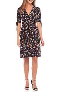 Three-Quarter Sleeve Ruched Printed Wrap Dress