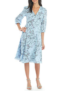 3/4 Sleeve Print Georgette Midi Button Dress
