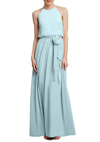 Donna Morgan Blouson Chiffon Halter Gown