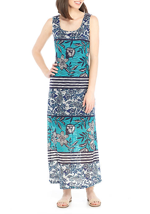 Ronni Nicole Textured Printed Knit Maxi Dress