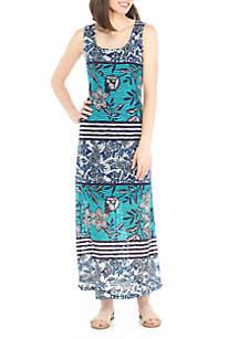 Textured Printed Knit Maxi Dress