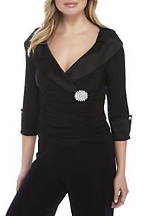 Ronni Nicole Three-Quarter Sleeve Ruched Collar Dress