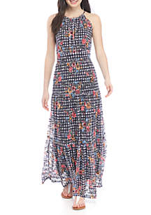 Maxi Floral Print Gingham Dress
