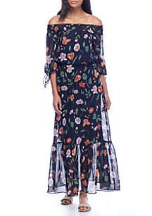 Floral Printed Chiffon Maxi Dress