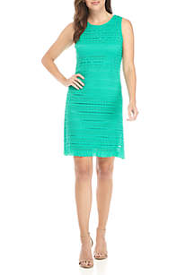 Lace Sleeveless Shift Dress