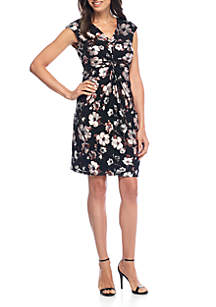 Cap Sleeve Floral Knot Front Dress