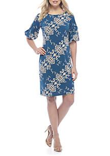 Short Puff Sleeve Diagonal Print Dress