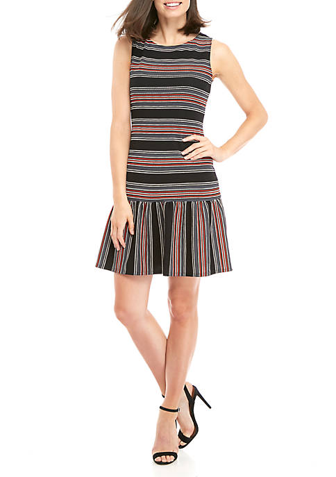 Ronni Nicole Day Stripe Drop Waist Textured Knit