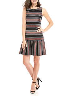 Day Stripe Drop Waist Textured Knit Dress