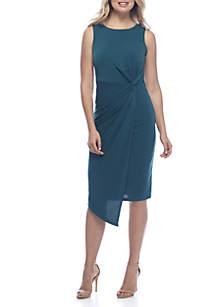 Sleeve Side Knot Asymmetric Hem Dress