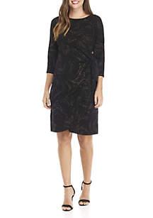 3/4 Sleeve Glitter Dress with Tie Waist
