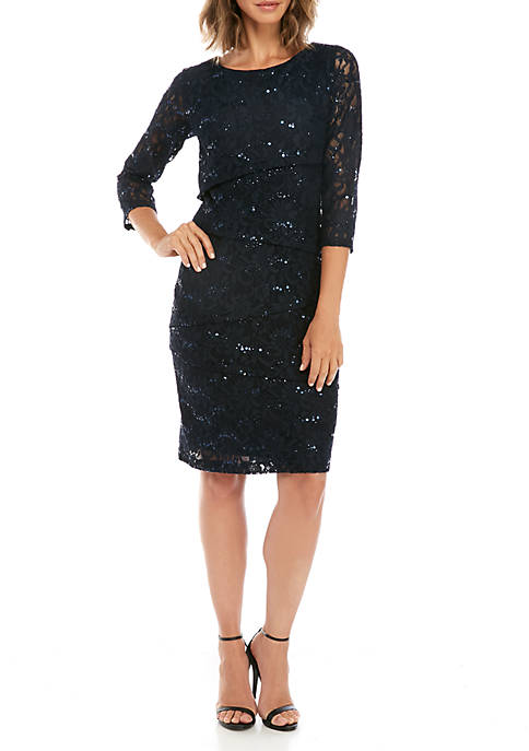 3/4 Sleeve Tier Sequin Lace Dress