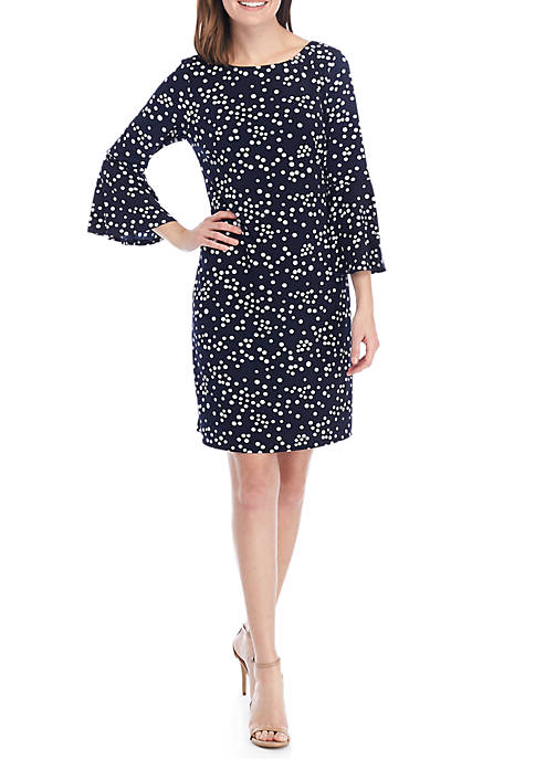 Ronni Nicole Long Bell Sleeve Scattered Puff Dot