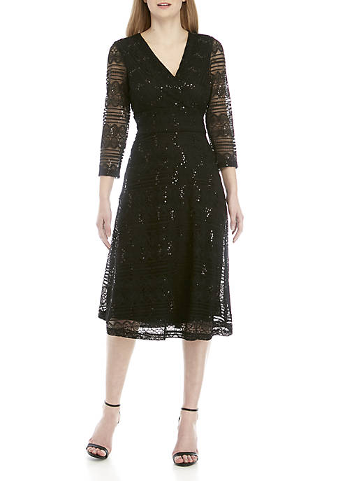 3/4 Sleeve Sequin Lace Midi Dress