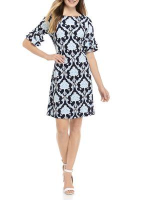 Ronni Nicole Women's Puff Print Floral Shift Dress