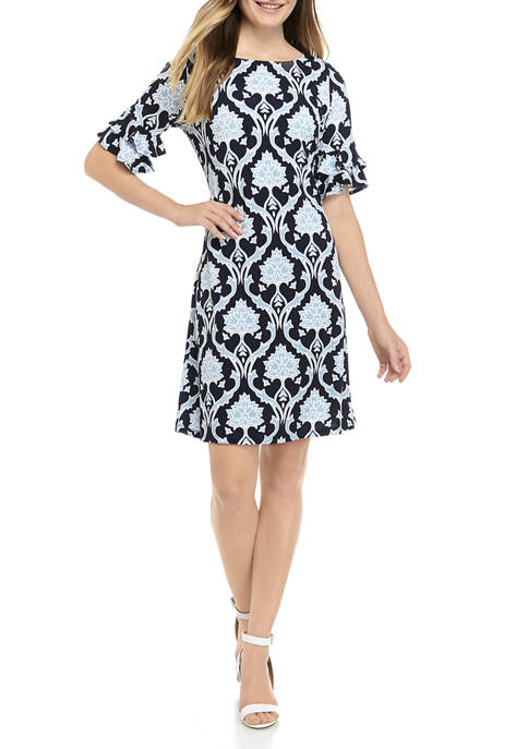 Ronni Nicole Womens Puff Print Floral Shift Dress