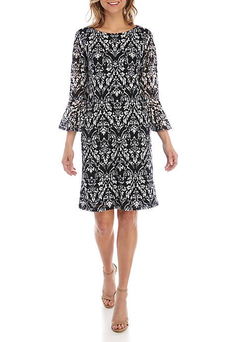 Ronni Nicole Lace Bell Sleeve Shift Dress