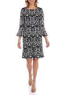 Ronni Nicole Lace Bell Sleeve Shift Dress