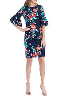 Elbow Bell Sleeve Floral Print Shift Dress