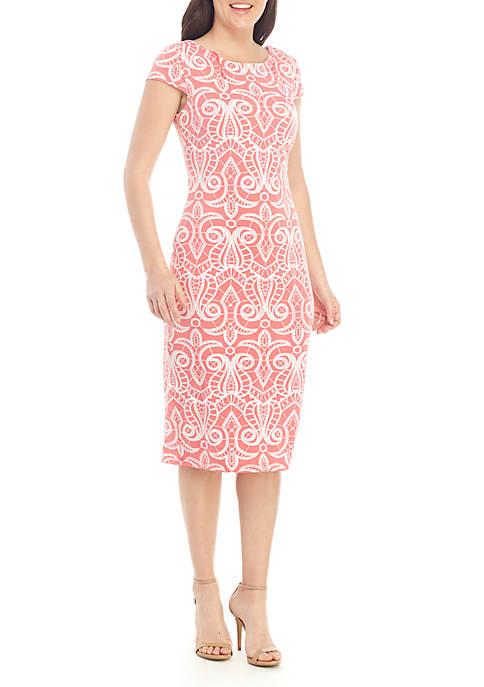 Short Sleeve Puff Print Midi Dress